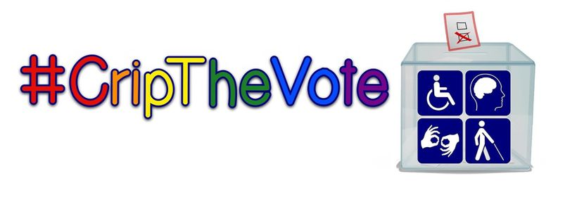 #CripTheVote in rainbow letters on a white field next to a ballot box with a variety of disability symbols on it.