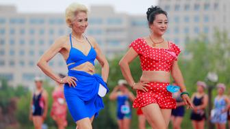 TIANJIN, CHINA - JULY 23: More than 500 elderly people take part in the 2nd Bikini Contest For Elderly People held by Tianjin Hetong Charitable Foundation for the Elderly at National Animation Industry Park on July 23, 2016 in Tianjin, China. (Photo by VCG)***_***