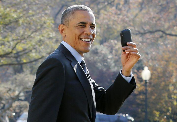 "A 2014 photo shows President Barack Obama brandishinga Blackberry that is no doubt ""e-waste"" already."