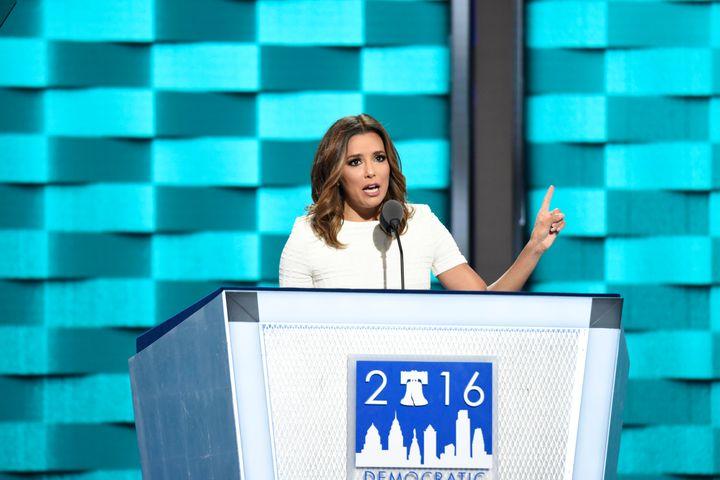 Eva Longoria at the2016 Democratic National Convention in Philadelphia, Pennsylvania.