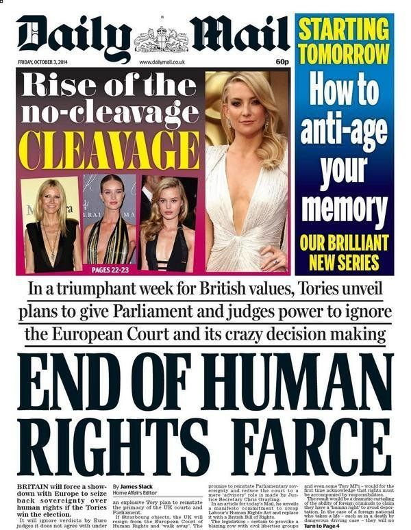 The Daily Mail greets the prospect of Britain leaving the European Convention on Human Rights when it...