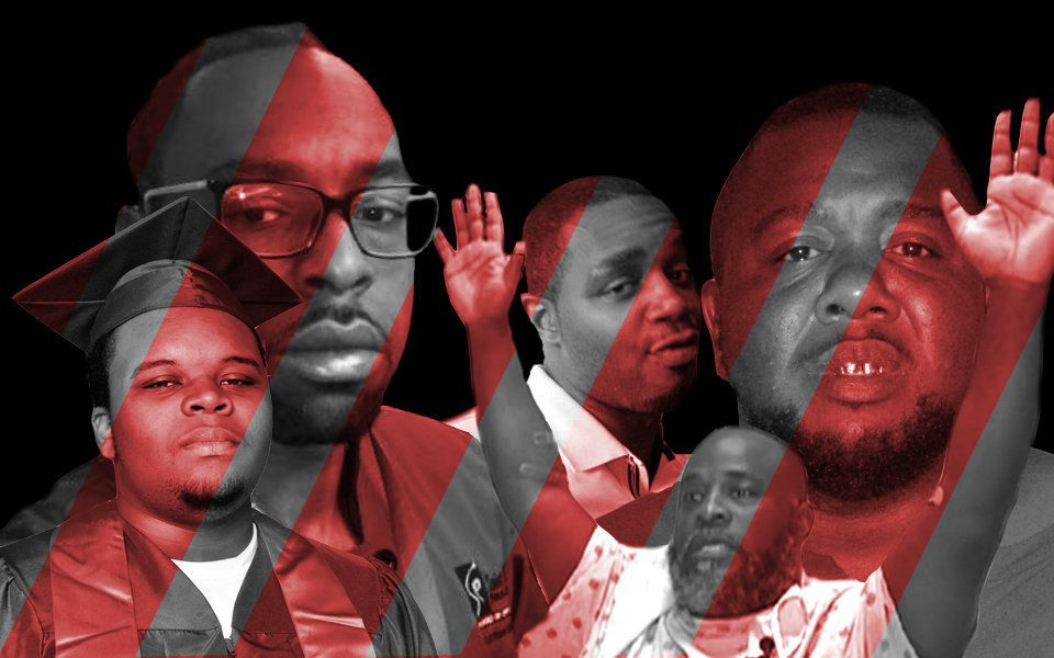 From left to right: Michael Brown, Philando Castile, Delrawn Small, Charles Kinsey and Alton Sterling.