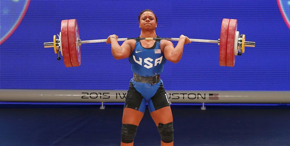 Jenny Arthur of the United States competes in the women's 75kg weight class during the 2015 International Weightlifting Feder