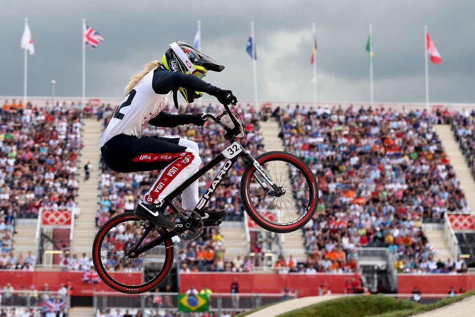 Brooke Crain of the United States competes during the Women's BMX Cycling on Day 12 of the London 2012 Olympic Games at BMX T