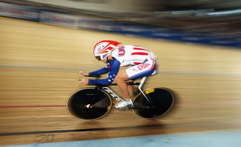 Sarah Hammer of the USA in action on her way to winning the Women's Omnium during day five of the 2013 UCI Track World Champi