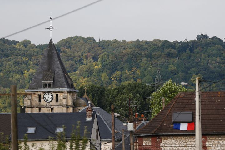 This photo taken on July 26, 2016 shows the steeple of the Saint-Etienne church of Saint-Etienne-du-Rouvray.