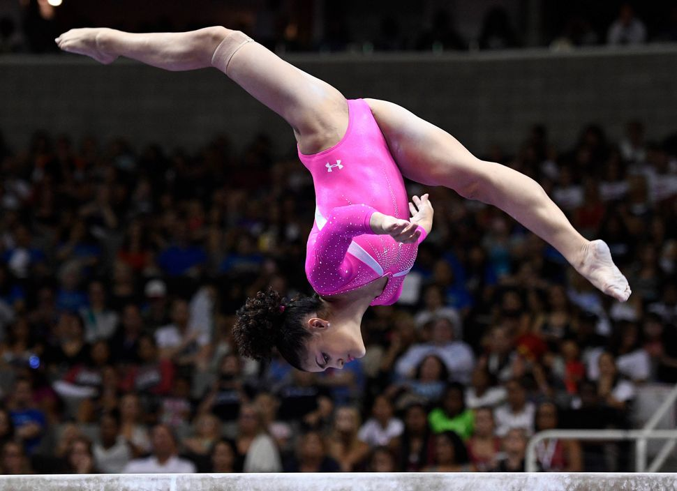 Laurie Hernandez during the balance beam in the women's gymnastics U.S. Olympic team trials at SAP Center.