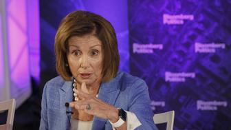 House Minority Leader Nancy Pelosi, a Democrat from California, speaks during a Bloomberg Politics interview on the sidelines of the Democratic National Convention (DNC) in Philadelphia, Pennsylvania, U.S., on Monday, July 25, 2016. Pelosi said having Donald Trump at the top of the Republican ticket will boost chances for Democratic gains in the House, though she stopped short of predicting her party can regain control of the chamber after the November election. Photographer: Patrick T. Fallon/Bloomberg via Getty Images