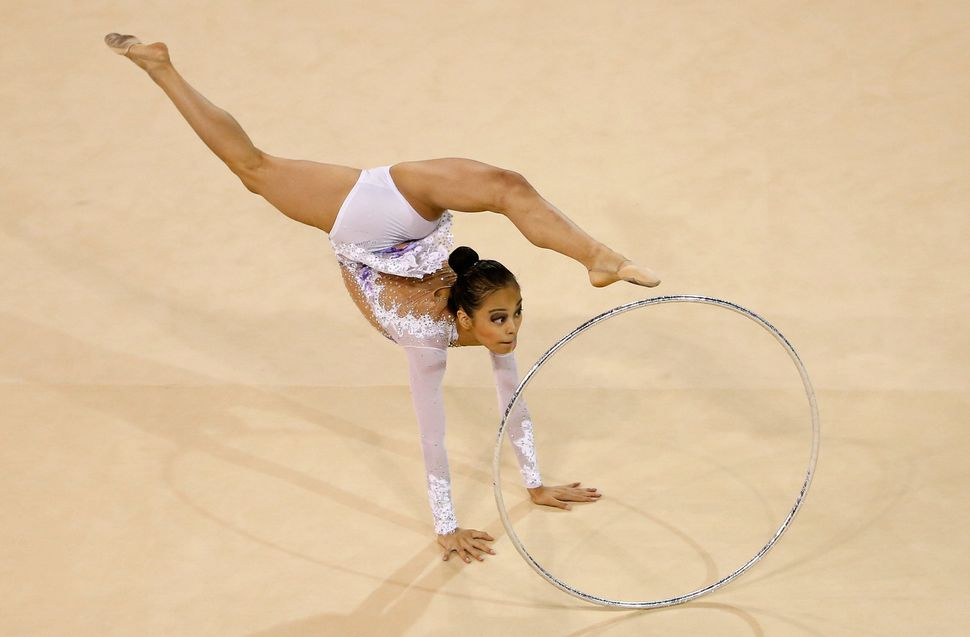 Laura Zeng of the United States competes in the rhythmic gymnastics hoop finals on Day 9 of the Toronto 2015 Pan Am Games on