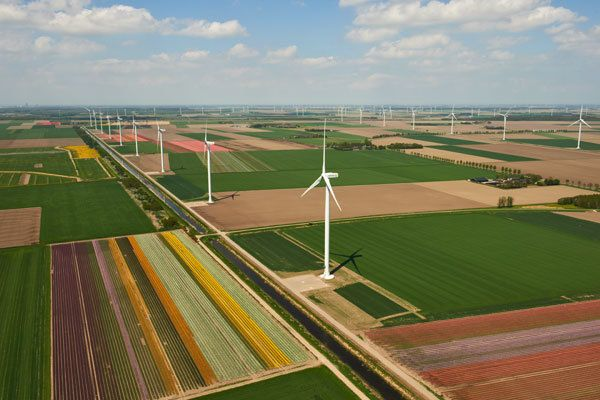 The 122 MW Zuidlob wind farm in the central province of Flevoland, Netherlands, where most of the country's wind power is pro