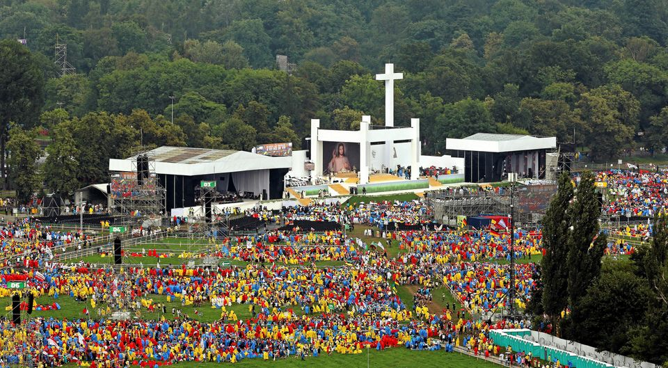 Pilgrims gather for the opening ceremony of World Youth Day in Krakow, Poland July 26, 2016.