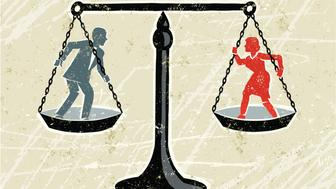 Equality! A stylized vector cartoon of a man and a woman being weighed on scales,reminiscent of an old screen print poster and suggesting battle of the sexes, woman's rights, equality, opposites or gender issues,. Man, woman, scales,paper texture and background are on different layers for easy editing. Please note: clipping paths have been used, an eps version is included without the path.