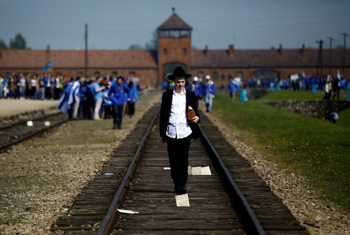 A man walks on the railway tracks in the former Nazi death camp of Auschwitz-Birkenau.