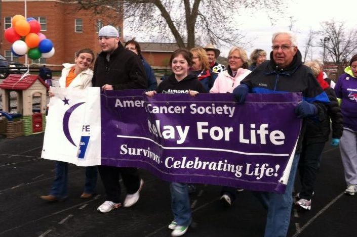 Celebrating our survivorship at the Hiram College Relay for Life 2012.