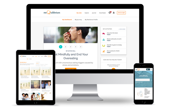 MeQuilibrium's stress management platform is accessible via phone, tablet and computer.