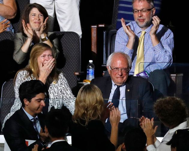 Bernie Sanders and his wife Jane react to his brother Larry making the presidential nomination roll call...