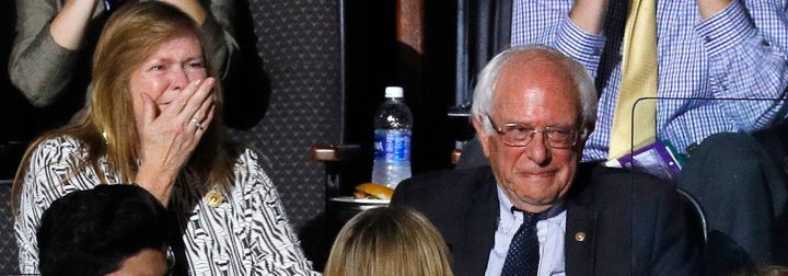 U.S. Senator Bernie Sanders and his wife, Jane, react to his brothermaking the presidential nomination roll call.