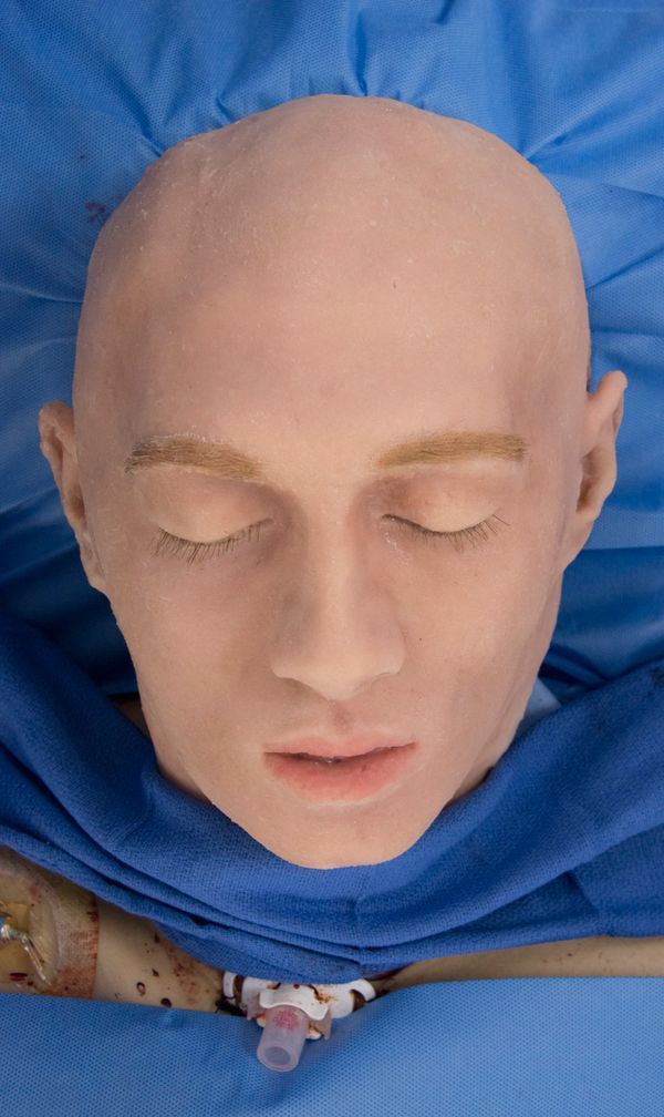This silicone face mask was used to cover the donor's head after his face had been removed.
