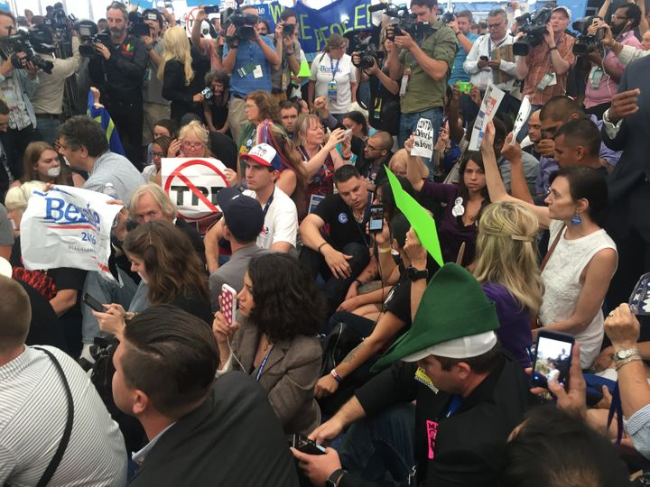 Bernie Sanders supporters stage sit in outside Democratic convention
