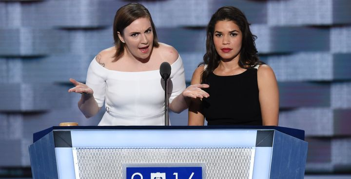 Lena Dunham and America Ferrera spoke at the Democratic National Convention on Tuesday.