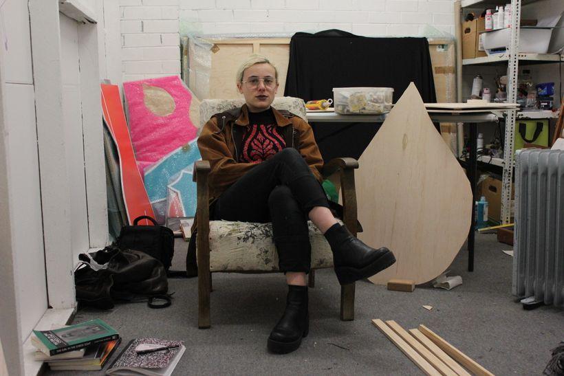 Stephanie Leigh in her studio at Studio 106 St Kilda