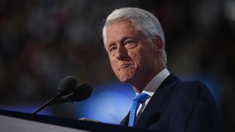 Former President Bill Clinton speaks on Day 2 of the Democratic National Convention at the Wells Fargo Center, July 26, 2016 in Philadelphia, Pennsylvania.    / AFP / Robyn BECK        (Photo credit should read ROBYN BECK/AFP/Getty Images)
