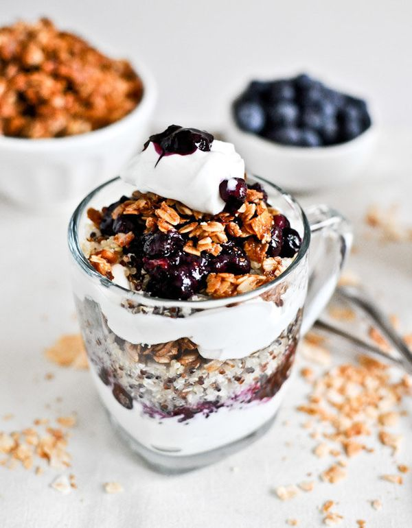 """<strong>Get the <a href=""""http://www.howsweeteats.com/2012/07/roasted-blueberry-coconut-quinoa-parfaits-with-coconut-granola/"""""""