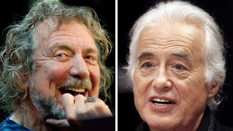 Lead singer Robert Plant (L) and guitarist Jimmy Page of British rock band Led Zeppelin are seen October 9, 2012 and July 21, 2015 in New York and Toronto in this combination file photo. REUTERS/Carlo Allegri, Hans Deryk/File photos