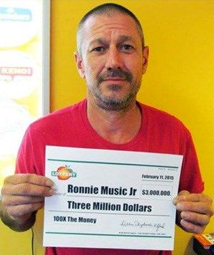 Ronnie Music poses after winning 3 million dollars in a Georgia lottery game in 2015.