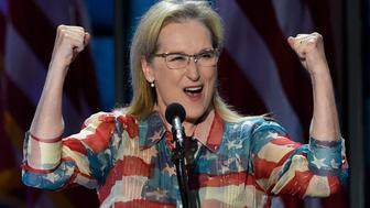 Actress Meryl Streep addresses the Democratic National Convention at the Wells Fargo Center, July 26, 2016 in Philadelphia, Pennsylvania.      / AFP / SAUL LOEB        (Photo credit should read SAUL LOEB/AFP/Getty Images)