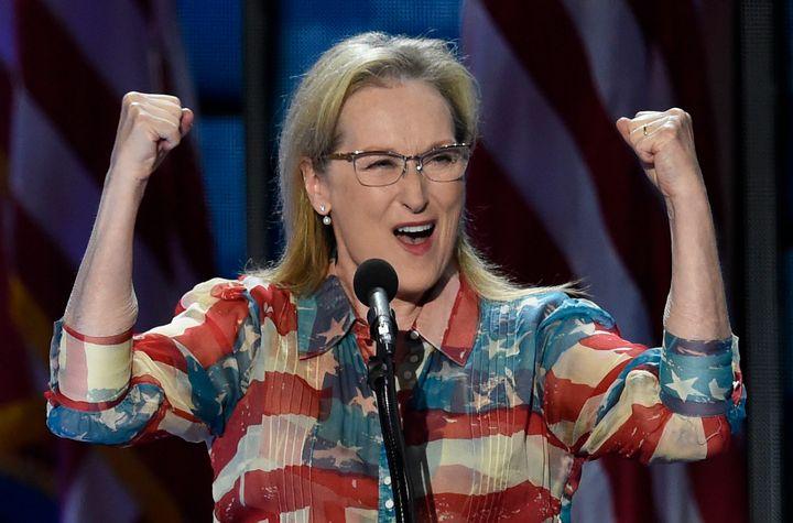 Actress Meryl Streep addresses the Democratic National Convention on July 26, 2016, in Philadelphia, Pennsylvania.