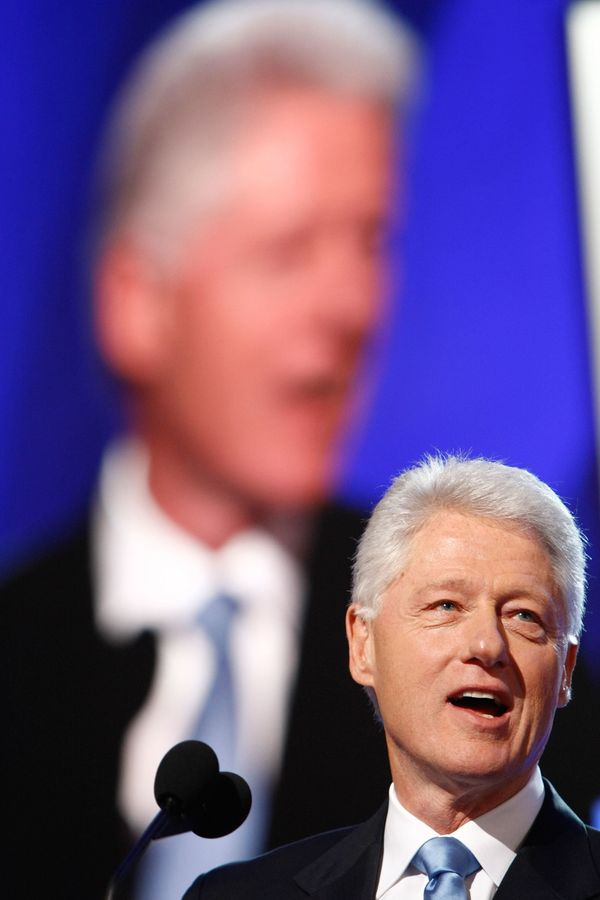 Clinton speaks during day three of the Democratic National Convention at the Pepsi Center in Denver, Colorado, Aug. 27, 2008.
