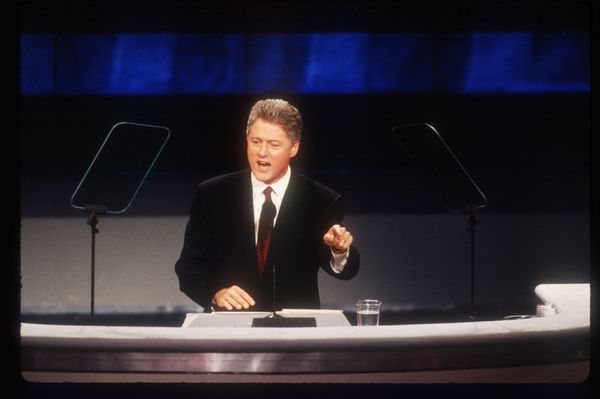 Bill Clinton speaks at the Democratic National Convention in New York City on July 16, 1992.