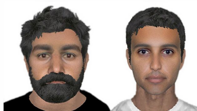 The two e-fit pictures of the suspects police are hunting over the attempted kidnapping of a serviceman...