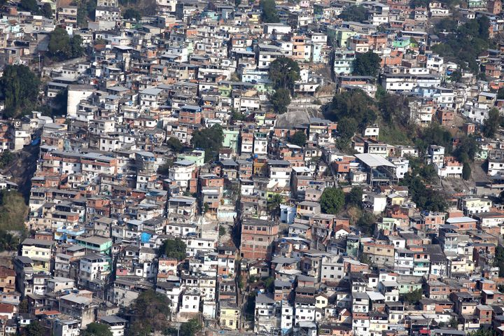 Aerial view of favela neighborhoods as work continues for the 2016 Summer Olympic Games in Rio de Janeiro, Brazil.