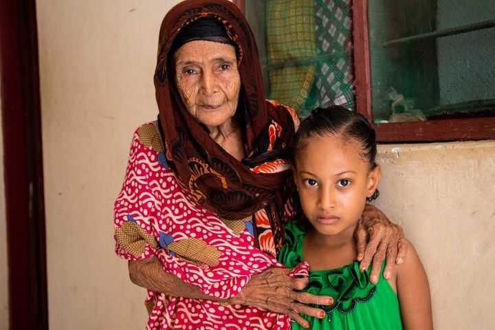 The oldest and youngest members of the Salim family fled Dubab, their native village near the Babal Mandab seaport in Yemen,