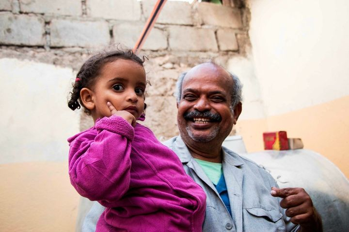 Mohammed Abu Bokar, a shop owner who named his ice-cream shop after his granddaughter Amira (pictured), traveled with his ent