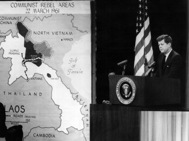 President John F. Kennedy speaks at a press conference about North Vietnam in 1961, the year hesent...