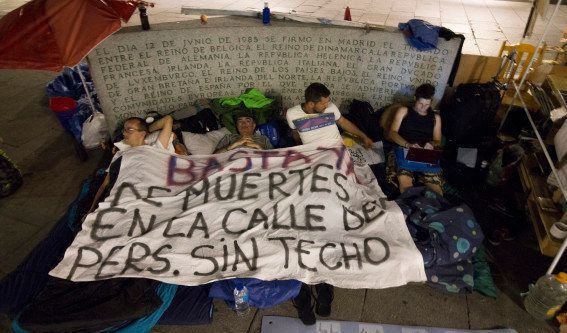 Madrid's homeless protest the harsh conditions faced by people living on the street in the Spanish capital.