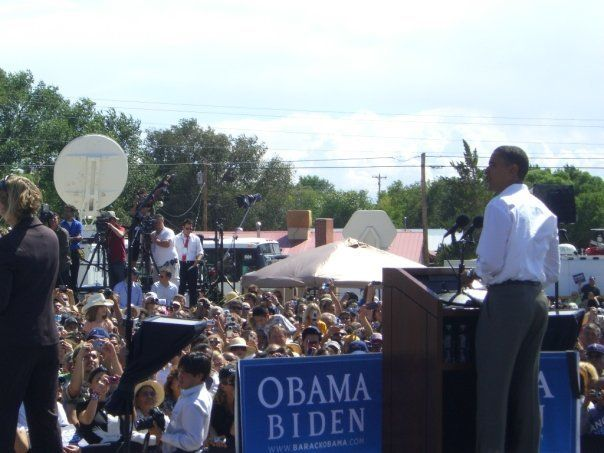 At an Obama for America rally in 2008 in Espanola, New Mexico.