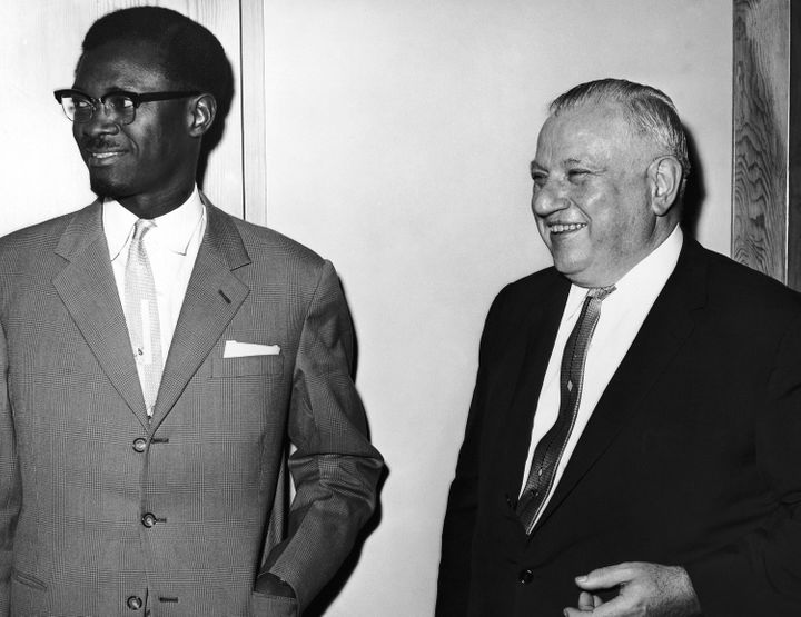Congo Premier Patrice Lumumba, left, with Andrew W. Cordier, executive assistant to Secretary-General Dag Hammarskjold, at th