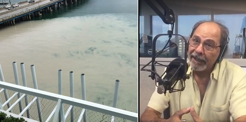 Left: Public record photograph of waters off Miami Beach at 5th Street causeway entrance to city. Right: FIU Scientist Dr. He