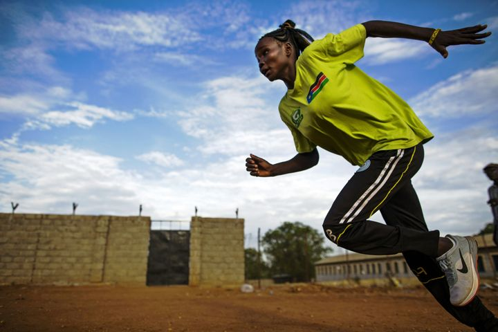 Margret Rumat Rumar Hassan trains in Juba. Hassan will represent South Sudan in its first-ever Olympics delegation.