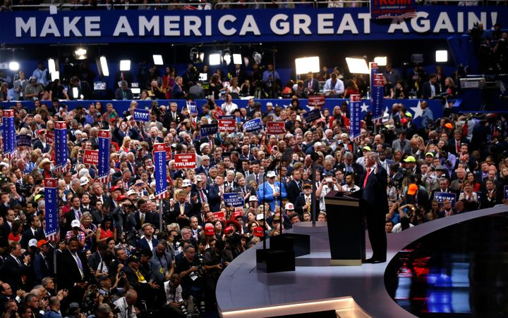 Republican U.S. presidential nominee Donald Trump formally accepts the nomination at the Republican National Convention in Cleveland, Ohio, U.S. July 21, 2016.