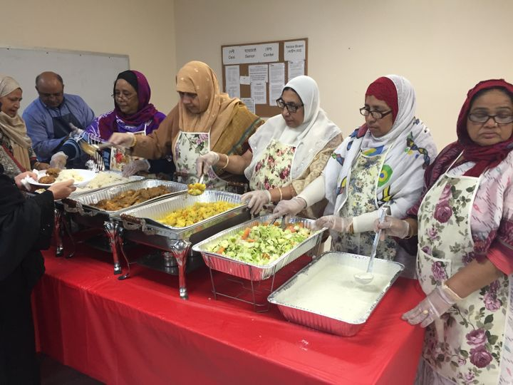 Volunteers serving halal meals at the Desi Senior Center in Jamaica, New York. Other than language, the other reason often ke