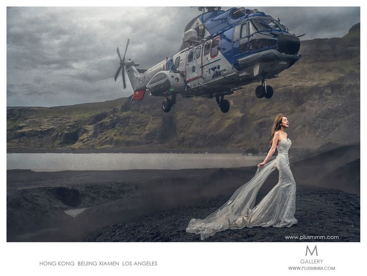 The shot of a lifetime: a bride poses while a rescue helicopter zooms overhead.