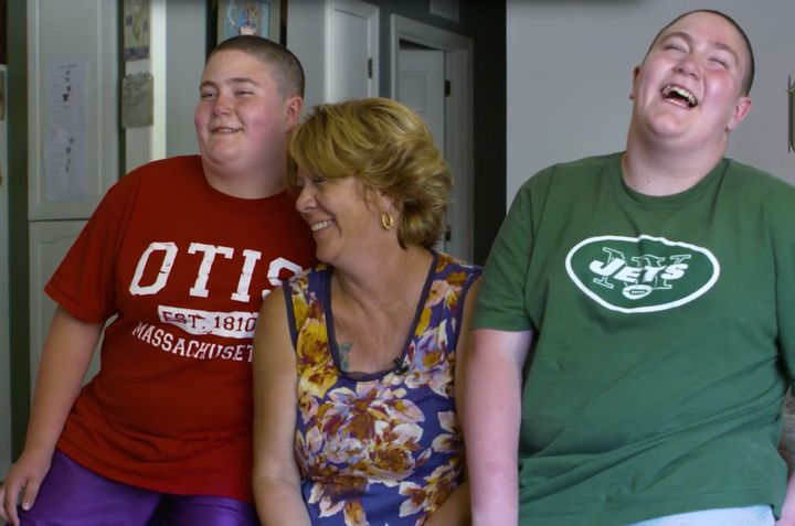 11-year-old Stevie Ahern (L), and his twin brother Eddie (R) suffer from Prader-Willi Syndrome, a condition that causes them to be perpetually hungry. Their mother,Dianna Schatzlein-Ahern, 55, has to lock the refrigerator up at night so they don't eat everything up.