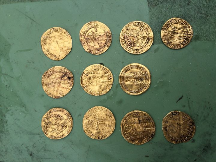 Gold coins found in the Kronan shipwreck.