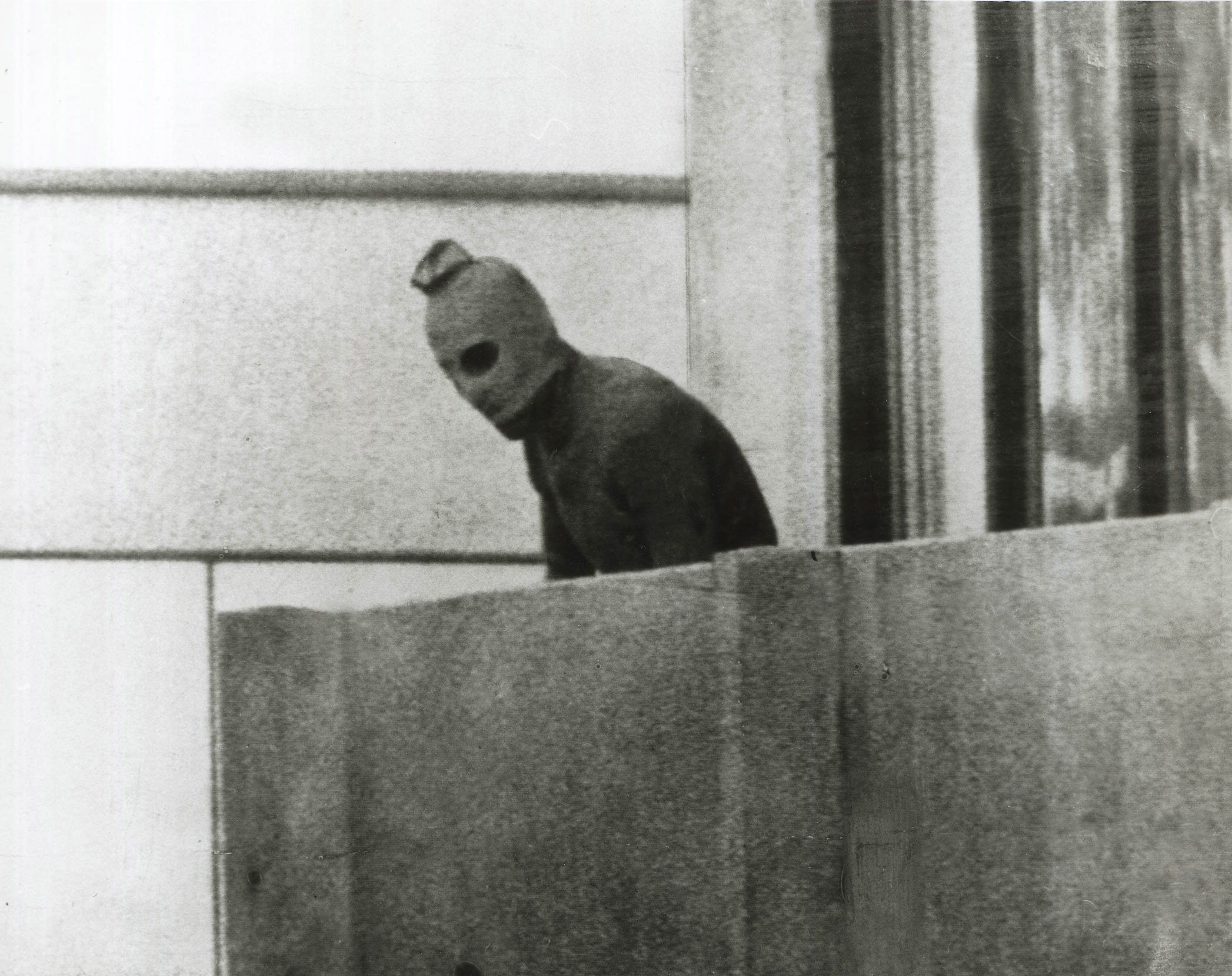 (AUSTRALIA & NEW ZEALAND OUT) The Big Picture. A Fairfax photographer captured one of the defining images of the Munich Olympics in 1972. This Palestinian is one of a group that had taken 12 Israeli athletes hostage. SMH NEWS Picture by RUSSELL MCPHEDRAN (Photo by Fairfax Media/Fairfax Media via Getty Images)