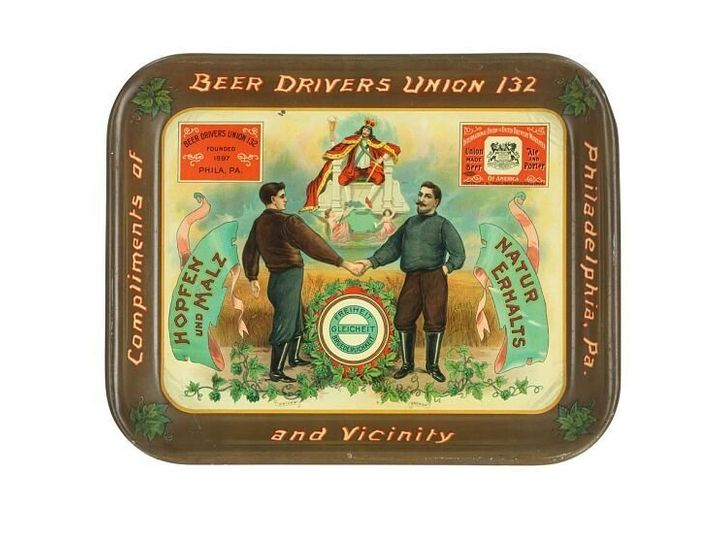 Beer tray, about 1905. Unions' power was built on worker solidarity. This beer tray shows a driver and a brewer working together. It says in German ͞Liberty, Equality, Fraternity.